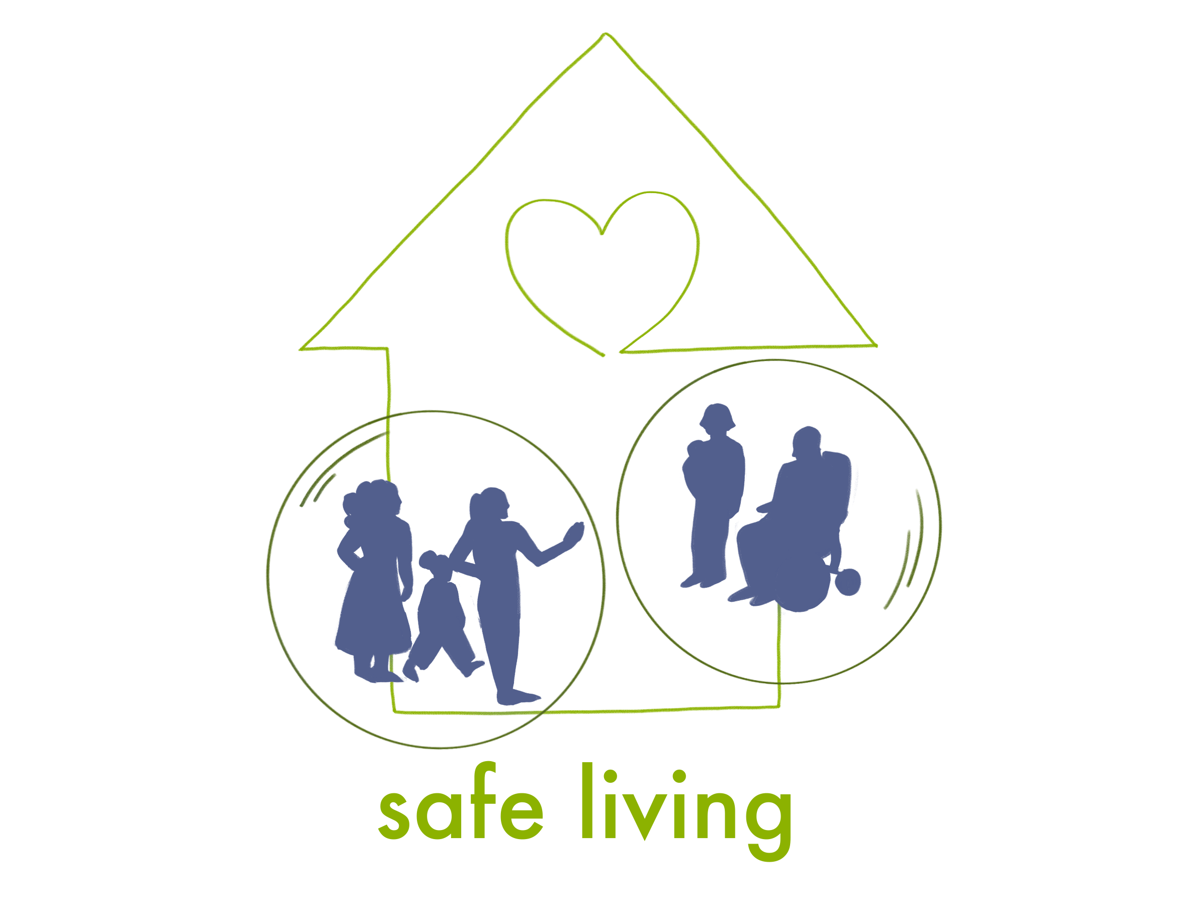 Safelviing Logo of people surrounded by the outline of a house